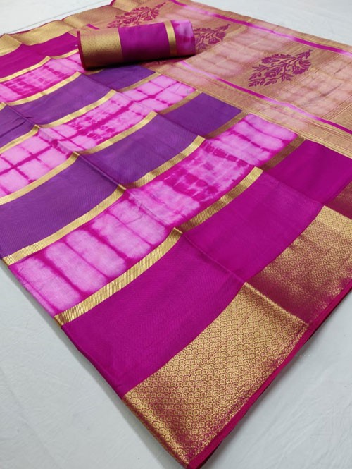 Pink Colored Beautiful Branded Soft Weaving Silk Saree - Silk India
