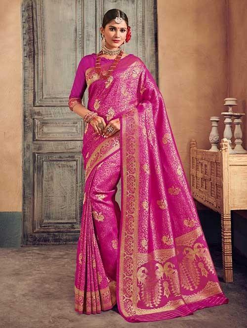 Pink Colored Beautiful Branded Weaving Brocade Silk Saree - Queen