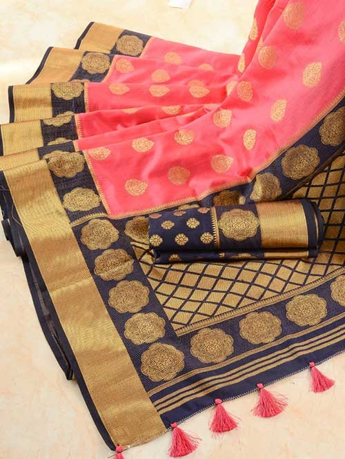 Pink Colored Beautiful Branded Weaving Pure Silk Saree - Rani Jhanshi