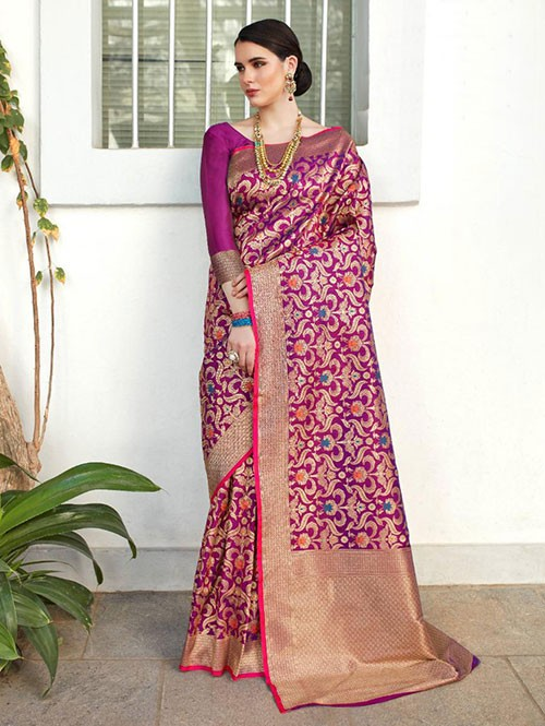 Pink Colored Beautiful Branded Weaving Silk Saree - Kilfi