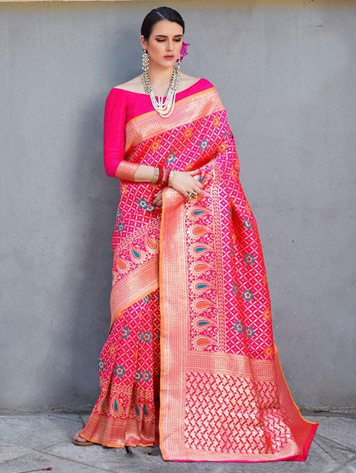 Pink Colored Beautiful Branded Weaving Silk Saree - Kilfi