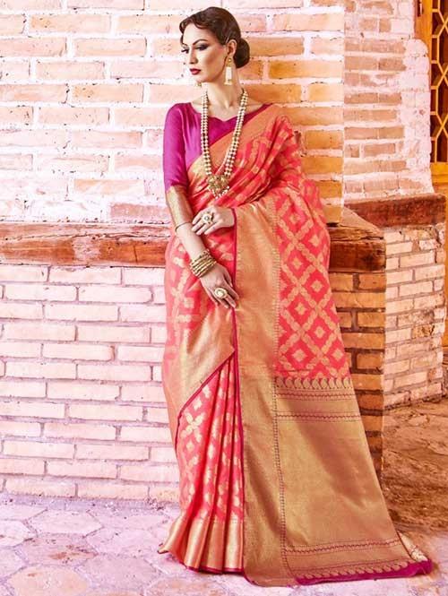 Pink Colored Beautiful Branded Weaving Silk Saree - Krystal