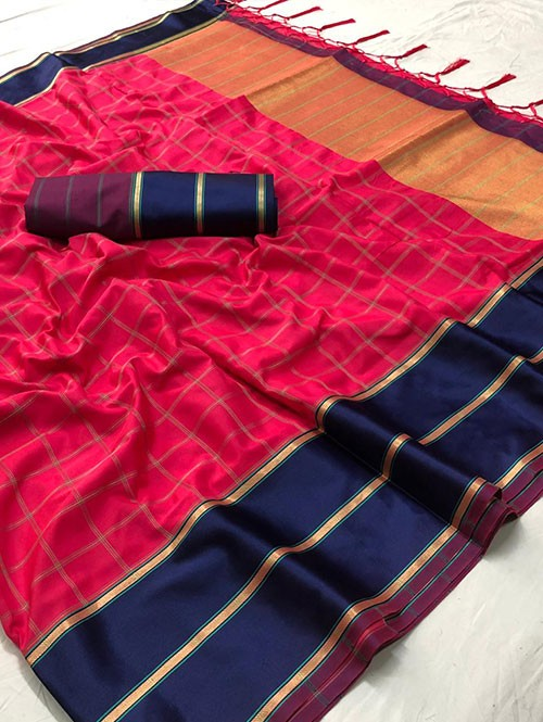 Pink Colored Beautiful Branded Weaving Silk Saree - Vedika