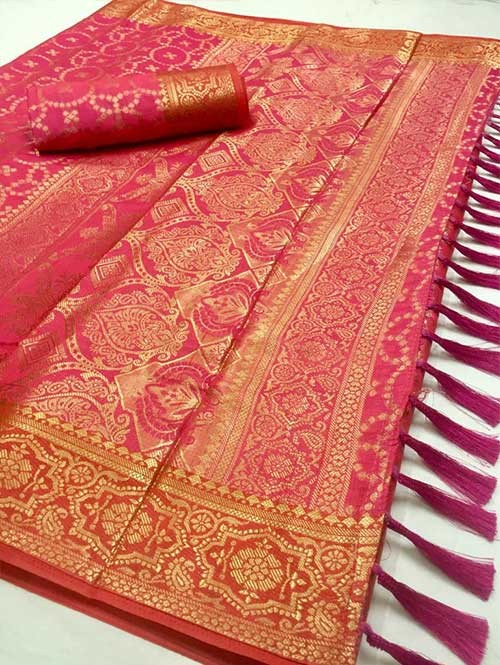 Pink Colored Beautiful Branded Weaving Soft Nylon Silk Saree