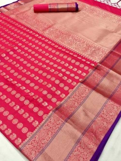 Pink Colored Beautiful Branded Weaving Soft Silk Saree