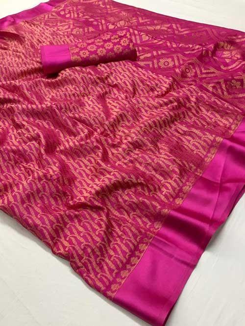 Pink Colored Beautiful Soft Brasso Silk Fancy Saree - Maharashi