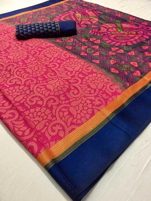 Pink Colored Beautiful Brasso Soft Silk Fancy Saree With Kalamkari - Kudrat