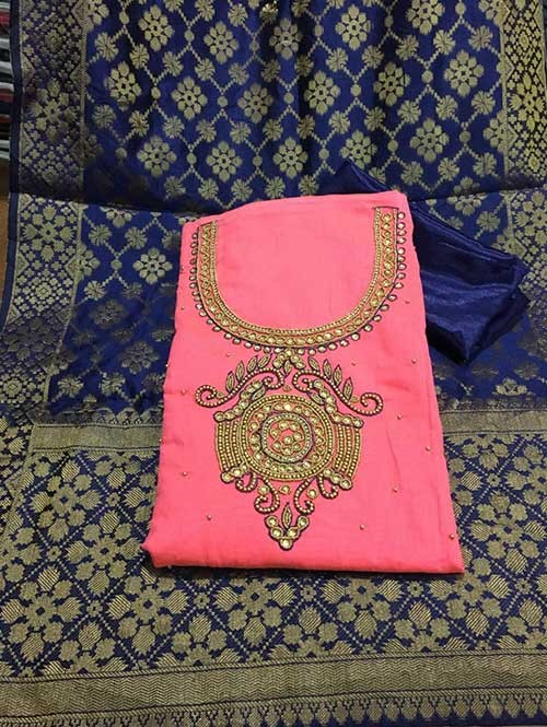 Pink Colored Beautiful Chanderi Cotton Dress Material with Khatali Hand Work.