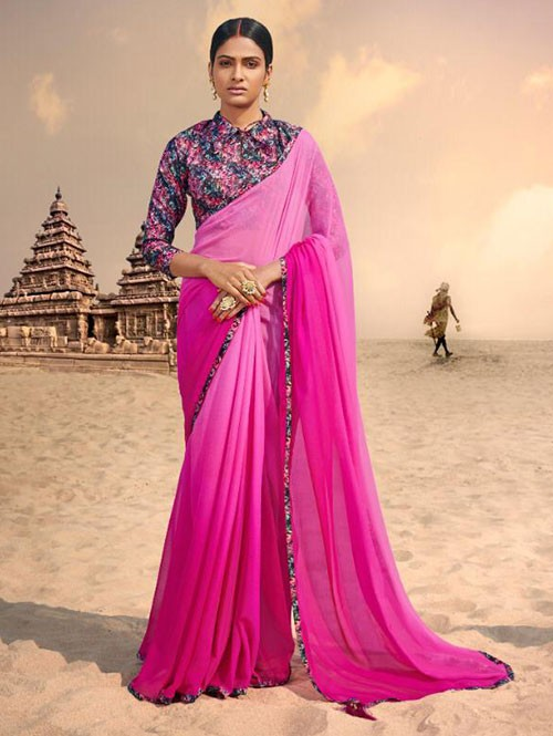 Pink Colored Beautiful Chiffon Shaded Color Saree With Printed Saree