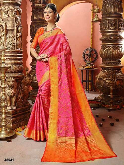 Pink Colored Beautiful Cotton Silk Saree