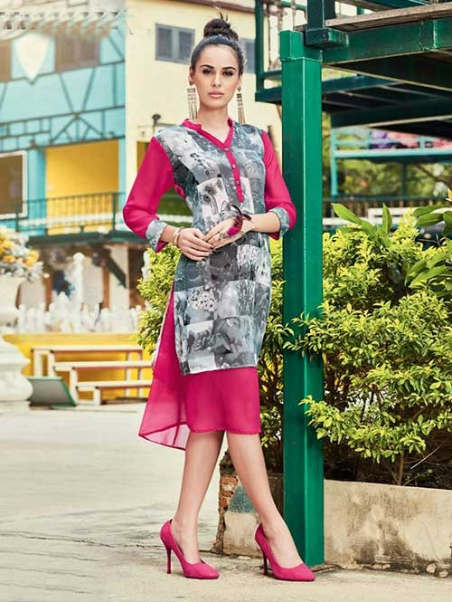Pink Colored Gorgeous Printed Crepe Kurti.