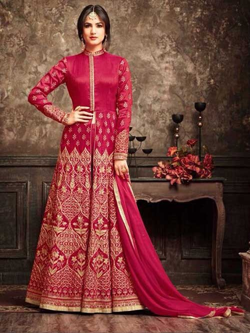 Pink Colored Beautiful Embroidered Banarasi Silk Anarkali Suit