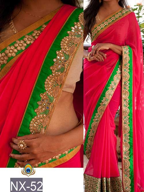 Pink Colored Beautiful Embroidered Border Georgette Saree