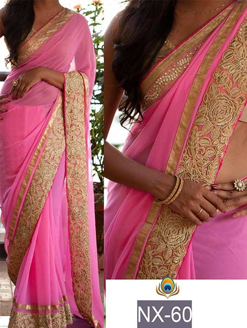 Pink Colored Beautiful Embroidered Border Georgette Saree.