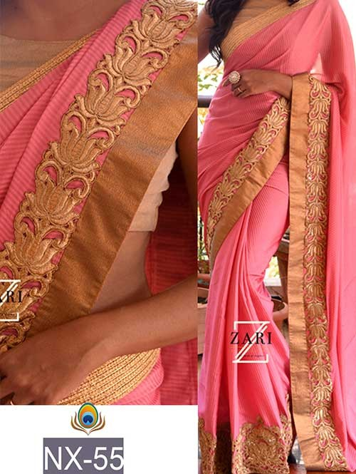 Pink Colored Beautiful Embroidered Border Pure Fabric Saree.