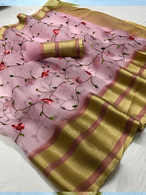 Pink Colored Beautiful Embroidered Branded Organza Silk Sarees