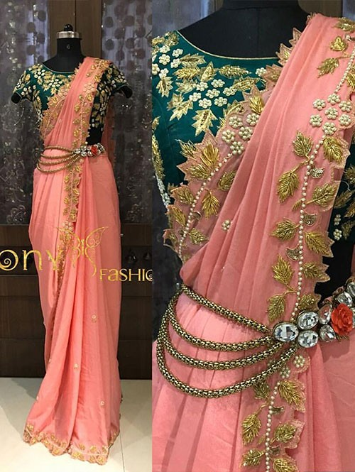 Pink Colored Beautiful Embroidered Chanderi Silk Saree