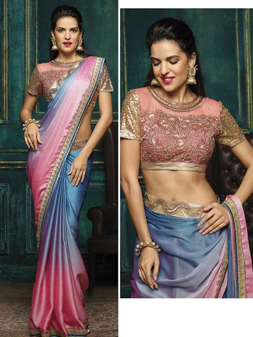 Pink Colored Beautiful Embroidered Chiffon Sare