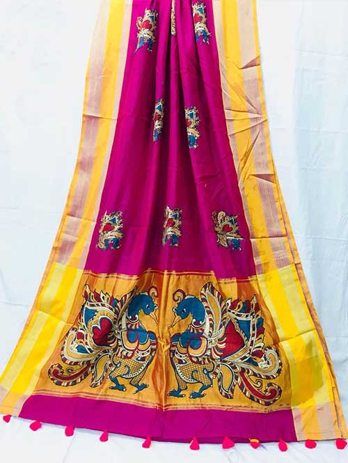 Pink Colored Beautiful Embroidered Cotton Saree