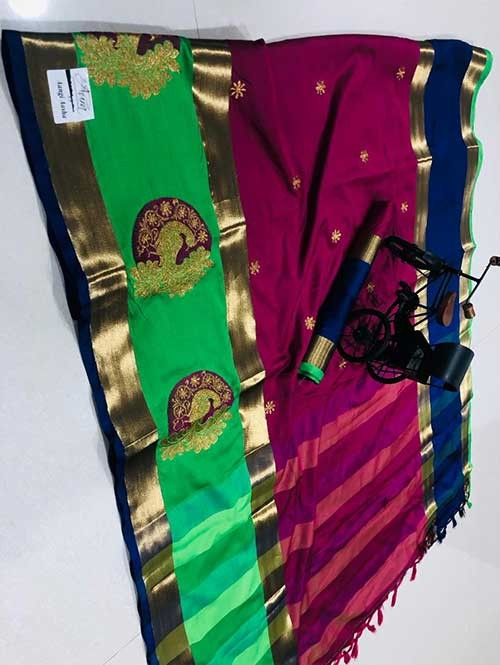 Pink Colored Beautiful Embroidered Cotton Silk Saree - Aangi Asha