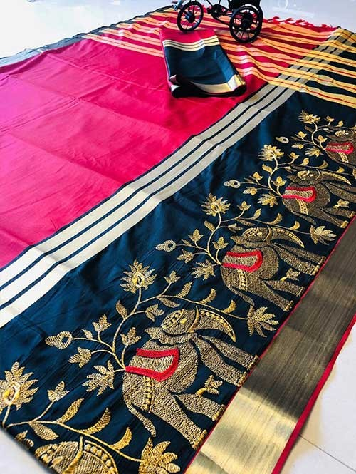 Pink Colored Beautiful Embroidered Cotton Silk Saree