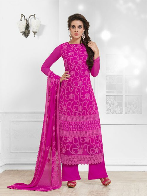 Pink Colored Beautiful Embroidered Faux Chiffon Suit (Salwar Suits)
