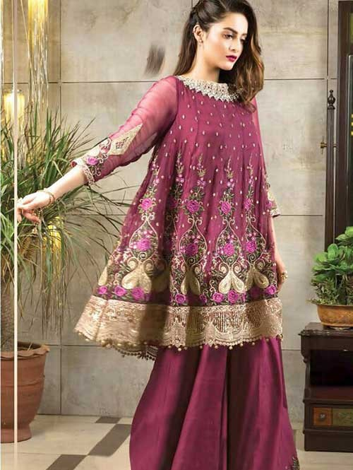 Pink Colored Beautiful Embroidered Faux Georgette Pakistani Suit