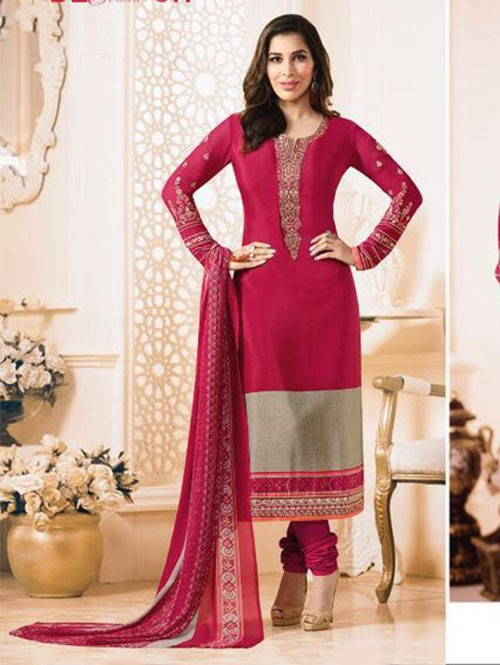 Pink Colored Beautiful Embroidered France Creap Salwar Suit