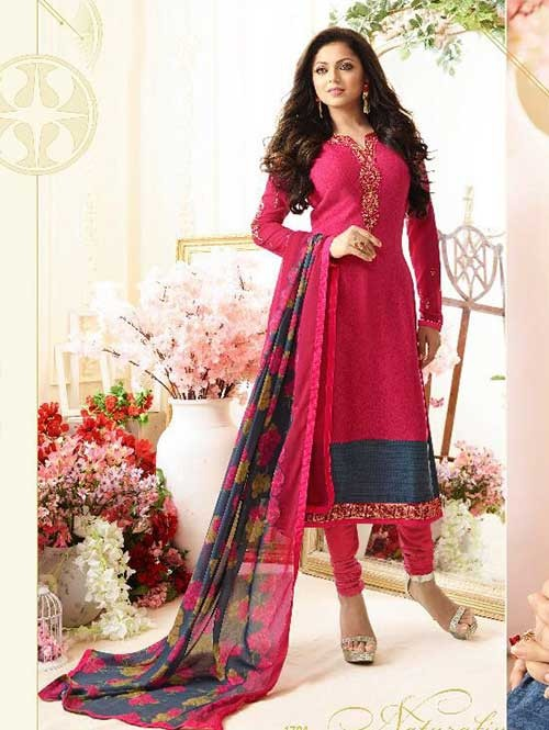 Pink Colored Beautiful Embroidered French Creap Salwar Suit With Embroidery Work