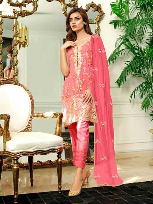Pink Colored Beautiful Embroidered Georgette Pakistani Suit
