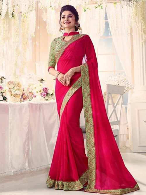 Pink Colored Beautiful Embroidered Georgette Saree