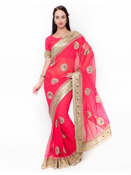 Pink Colored Beautiful Embroidered Georgette Saree with embroidered Blouse