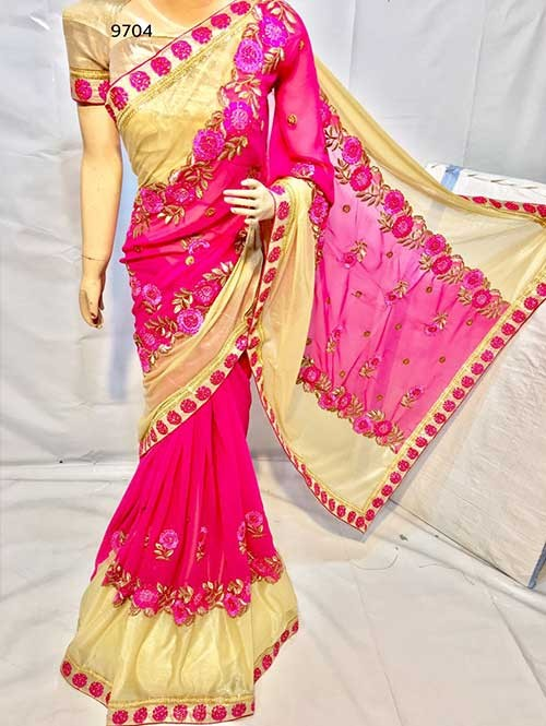 Pink Colored Beautiful Embroidered Georgette with Lycra Saree