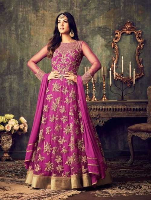Pink Colored Beautiful Embroidered Heavy Net Salwar Suit