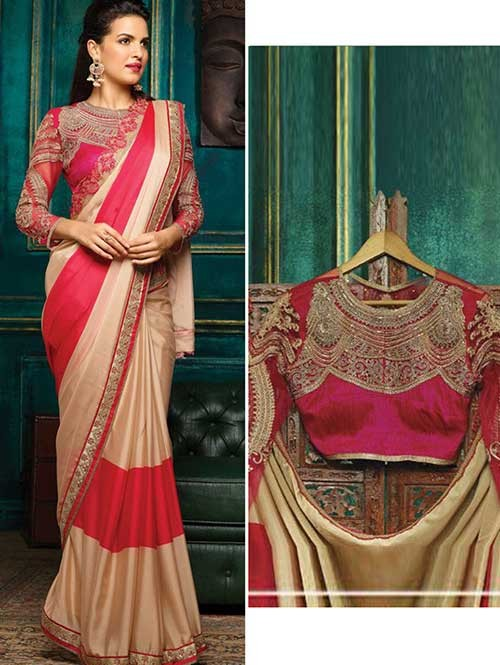 Pink Colored Beautiful Embroidered Import Silk Saree