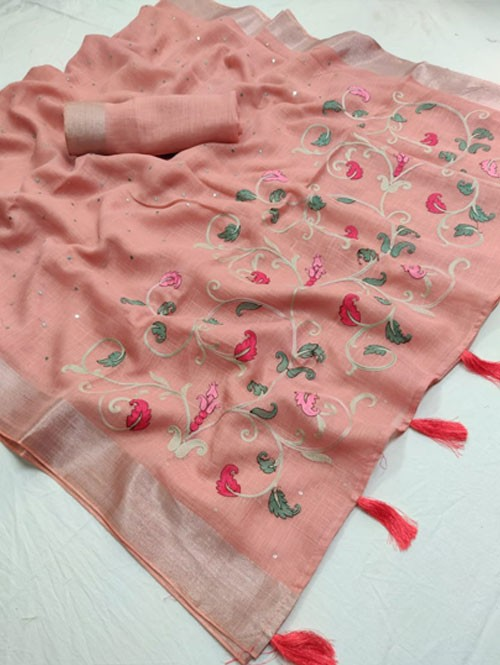 Pink Colored Beautiful Embroidered Linen Saree With Mirror Work - Naisha