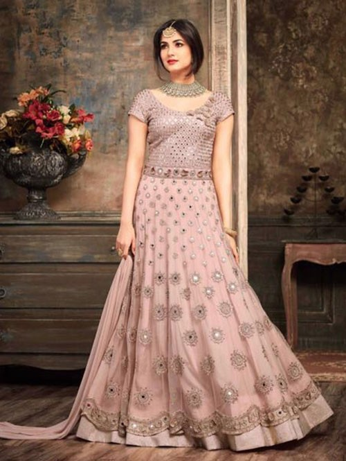 Pink Colored Beautiful Embroidered Net Anarkali Suit