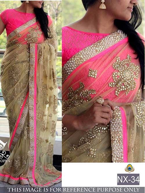 Pink Colored Beautiful embroidered Net Saree with Beautiful Blouse