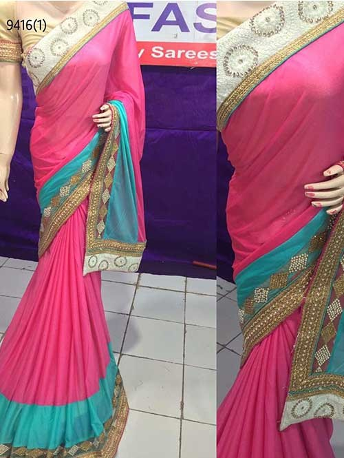 Pink Colored Beautiful Embroidered Pure Lycra Saree