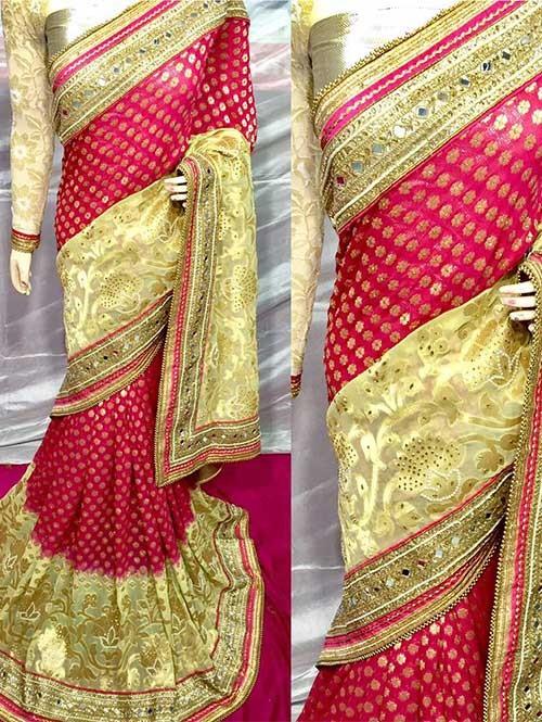 Pink Colored Beautiful Embroidered Pure Viscose Silk Saree