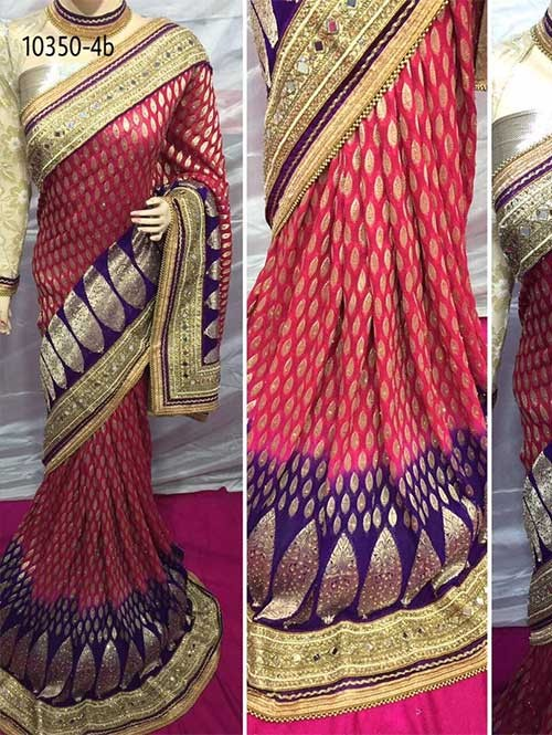 Pink Colored Beautiful Embroidered Pure Viscose Silk Saree