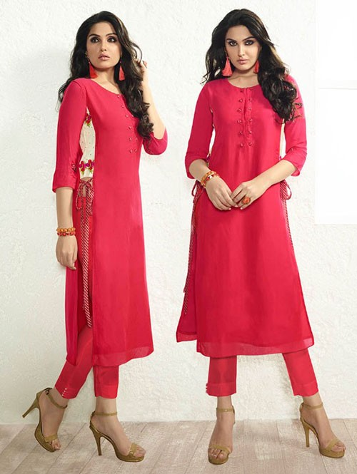 Pink Colored Beautiful Embroidered Rayon Kurti with Tassel Tie-Ups