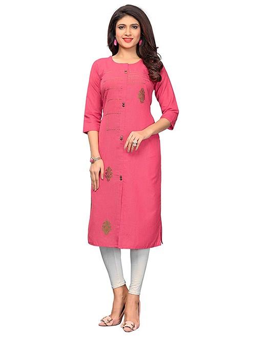 Pink Colored Beautiful Embroidered Shirt Style Cotton Kurti