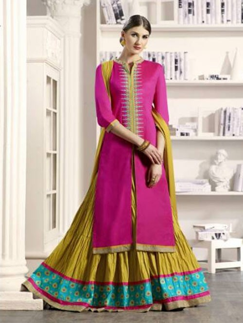 Pink Colored Beautiful Embroidered Silk Cotton Lehenga Suit