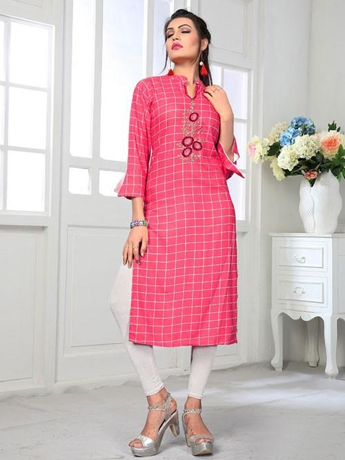 Pink Colored Beautiful Embroidered Straight Rayon Kurti