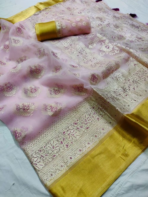 Pink Colored Beautiful Foil Printed Organza Saree - Palkhi