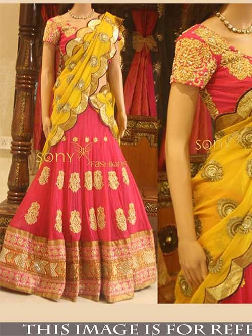 Pink Colored Beautiful Georgette Lehenga With Matching Choli Pink Colored Beautiful Georgette Lehenga With Matching Choli