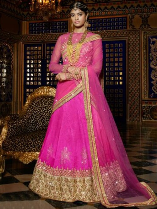 Pink Colored Beautiful Heavy Embroidered Australian Silk Lehenga Choli