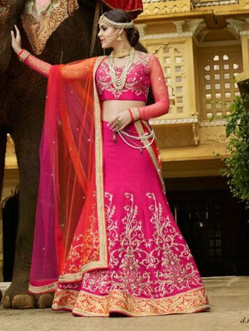 Pink Colored Beautiful Heavy Embroidered Banarasi Silk With Kandola Lehenga Choli
