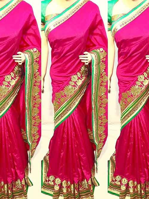 Pink Colored Beautiful Heavy Embroidered Original Saree.